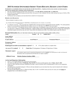 2015 Summer Housing Reservation Form