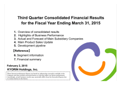For the Third Quarter Ended Dec 31,2014