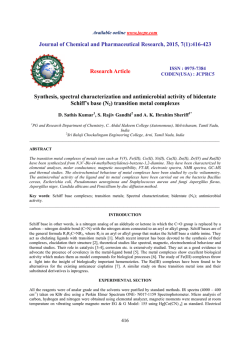 Synthesis, spectral characterization and antimicrobial activity of