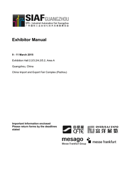 SIAF2015 Exhibitor manual - SPS – Industrial Automation Fair