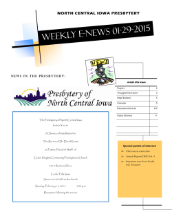 Weekly E-news 01-29-2015 - Presbytery of North Central Iowa