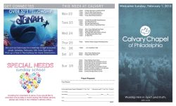 THIS WEEK AT CALVARY Mon 2/2 Sat 2/7 Sun 2/8 GET