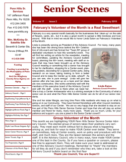 Senior Services Center NewsLetter (Monthly)