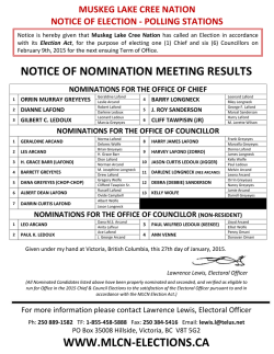 nominations for the office of councillor
