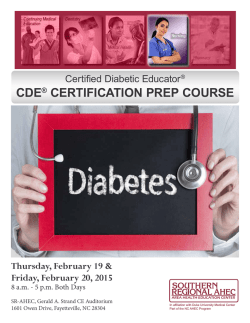 CDE® CERTIFICATION PREP COURSE
