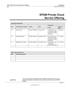 EPAM Private Cloud Service Offering - EPAM Cloud