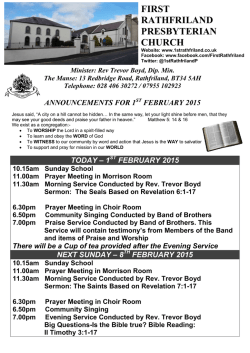february 2015 - First Rathfriland Presbyterian Church