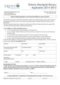 Ontario Aboriginal Bursary Applcation