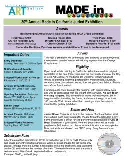 30th Annual Made in California Juried Exhibition