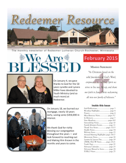 Newsletter February 2015 - Redeemer Lutheran Church