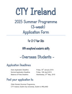 CTYI Older Student Application for Overseas students