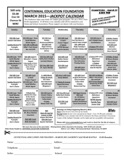 CEF JACKPOT CALENDAR - Centennial Education Foundation