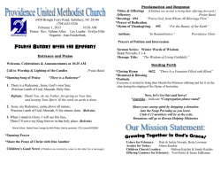 02-01-15 Bulletin - Providence United Methodist Church