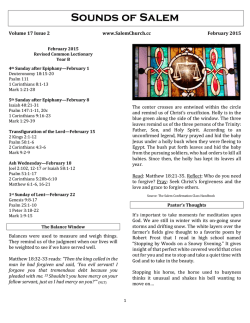 Newsletter and Calendar - Salem United Presbyterian Church