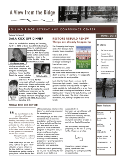 Read our Winter 2015 NEWSLETTER - Rolling Ridge | Retreat Center