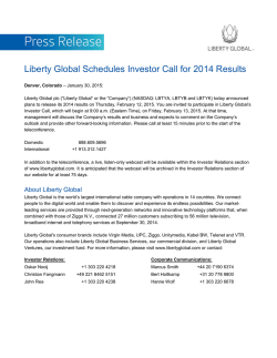 Liberty Global Schedules Investor Call for 2014 Results