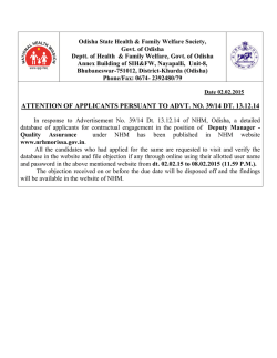 ATTENTION OF APPLICANTS PERSUANT TO ADVT. NO. 39/14 DT