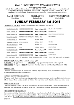 SUNDAY FEBRUARY 1st 2015 - The Divine Saviour Parish