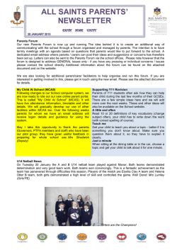 Newsletter 26 January 2015 - All Saints Roman Catholic School York