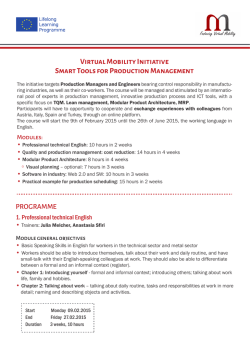 Virtual Mobility Initiative Smart Tools for Production Management