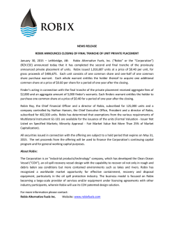 Robix Closes Final Tranche Private Placement