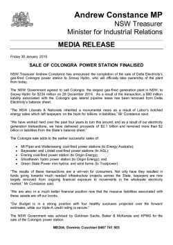Sale of Colongra Power Station Finalised