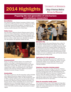 2014 Highlights - University of Minnesota College of Veterinary