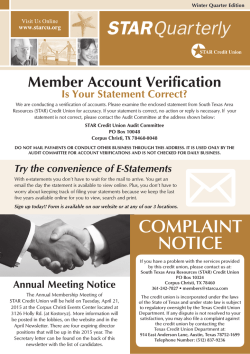 COMPLAINT NOTICE - South Texas Area Resources Credit Union