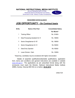 JOB OPPORTUNITY - On Contract basis