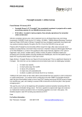 PRESS RELEASE - Foresight Group