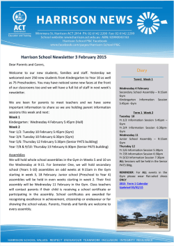 Harrison School Newsletter 3 February 2015