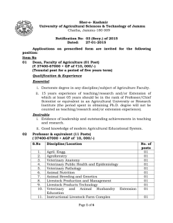 Advertisement notice for the post of Dean, Faculty - SKUAST