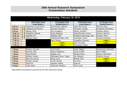 Wednesday, February 18, 2015 26th Annual Research Symposium