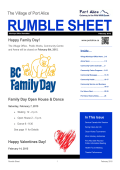 February 2015 Rumble Sheet newsletter (PDF)