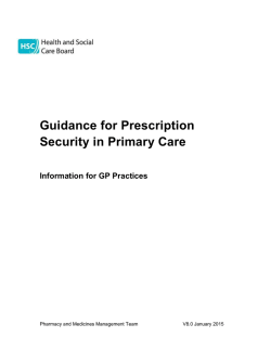 Guidance for Prescription Security in Primary Care