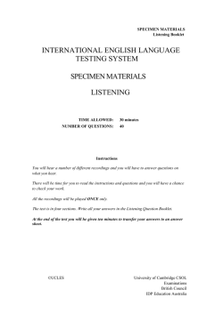 international english language testing system specimen materials