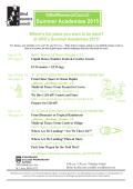 Summer Academies Brochure