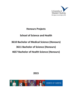 Proposed 2015 Honours Research Topics (PDF, 3473.05 KB)