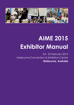 AIME 2015 Exhibitor Manual