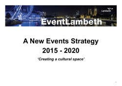 A New Events Strategy 2015 - 2020