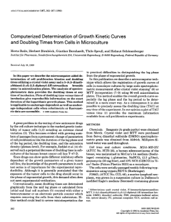 Computerized Determination of Growth Kinetic Curves and