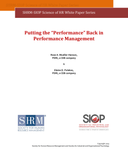 Performance Management - Society for Human Resource