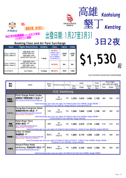 Booking Class and Air Fare Surcharge 高雄Kaohsiung