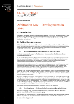 Arbitration Law – Developments in 2014