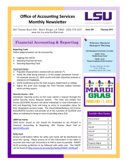 Office of Accounting Services Monthly Newsletter