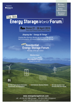 Rome 27 - 30 April 2015 - Energy Storage World Forum
