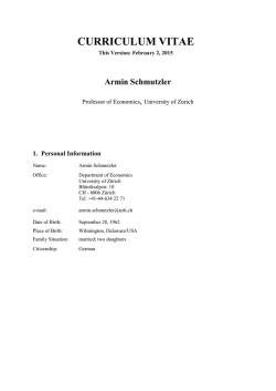 Armin Schmutzler - Department of Economics