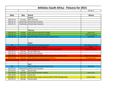 Athletics South Africa - Fixtures for 2015