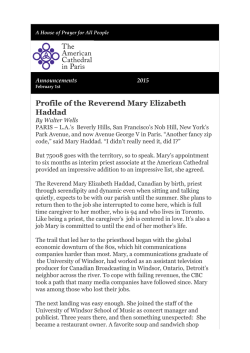 Profile of the Reverend Mary Elizabeth Haddad