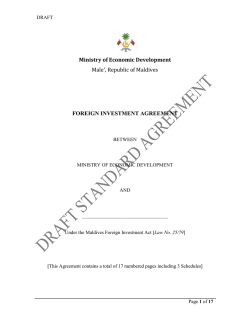 foreign investment agreement - Ministry of Economic Development
